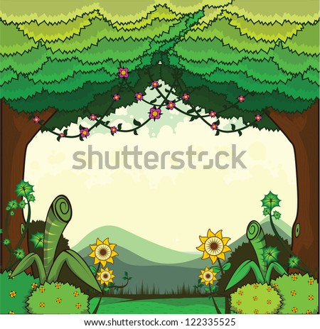 scenery forest - stock vector