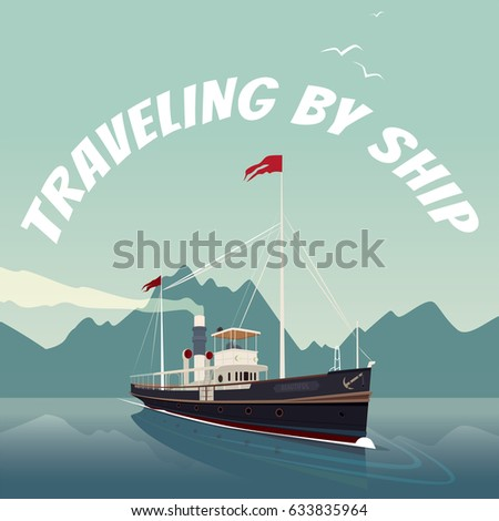 Scenic Area Old Cruise Ship Style Stock Vector - Can you take a steamer on a cruise ship