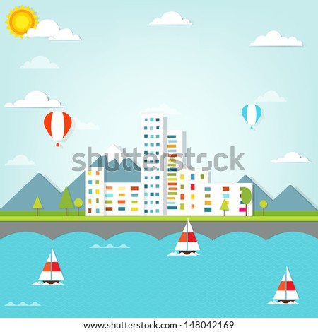 scenic city - stock vector