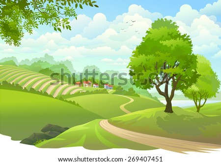 Scenic Green Fields And Birds In The Sky - stock vector