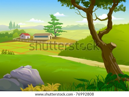 SCENIC GREEN FIELDS , PATHWAY AND VILLAGE HOUSES - stock vector