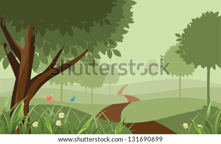 Scenic Park. EPS 8 vector, grouped for easy editing. No open shapes or paths. - stock vector