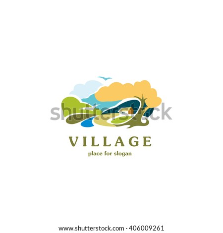 Scenic rural landscape. Village logo template. Nature vector illustration. Parks isolated logotype. Landscape picture. Art rural picture.