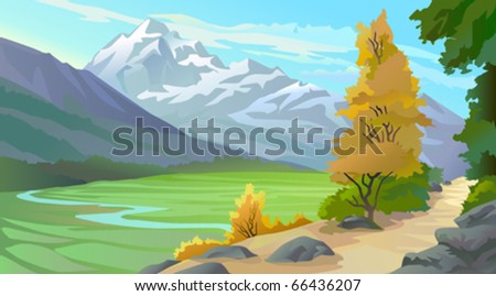 Scenic Tibetan Himalaya Valley - stock vector