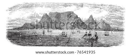 Scenic view from Table bay vintage, Cape Town, South Africa vintage engraving. Old engraved illustration view of Table Mountains near Cape town with ships, 1890s. Trousset Encyclopedia - stock vector