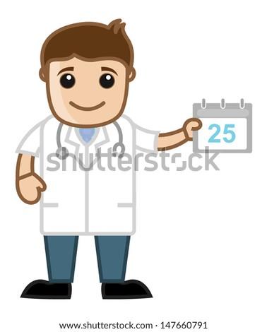 Schedule Doctor Calendar - Medical Cartoon Characters - stock vector