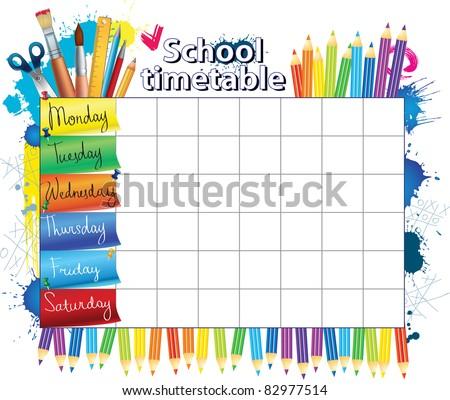 Schedule for students - stock vector