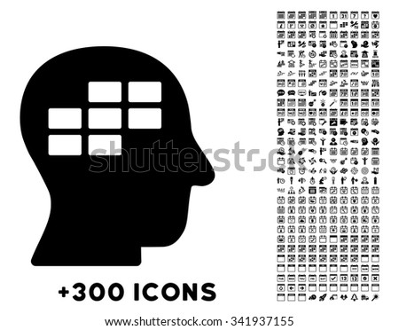 Schedule Thinking vector pictogram with additional 300 date and time management icons. Style is flat symbols, black color, rounded angles, white background. - stock vector