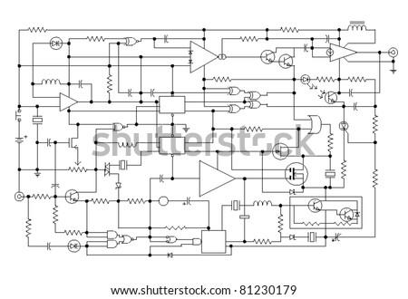 schematic diagram project electronic circuit graphic stock vector 81230179 shutterstock electronic circuits projects diagrams free download electronic circuits projects diagrams free pdf download