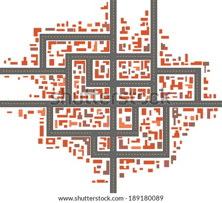 Schematic drawing of urban city maps - stock vector