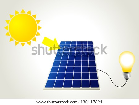 Schematic illustration of solar energy - stock vector
