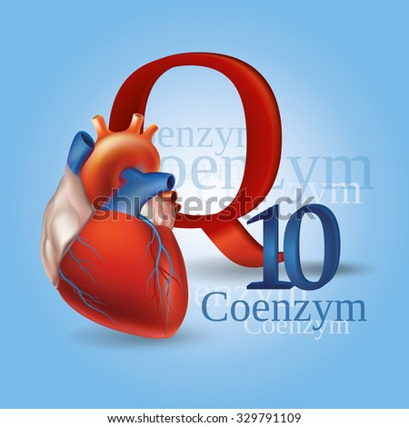 Schematic representation of Coenzyme Q10 - antioxidant substances necessary for the maintenance of normal heart function. Blue background. - stock vector