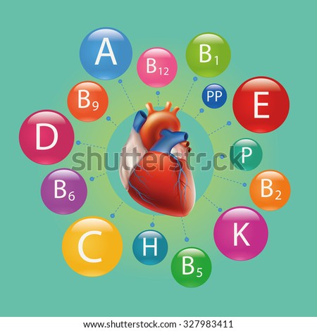 Schematic representation of the heart and vitamins necessary for human health. - stock vector