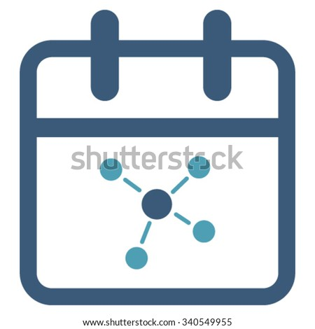 Scheme Date vector icon. Style is bicolor flat symbol, cyan and blue colors, rounded angles, white background. - stock vector