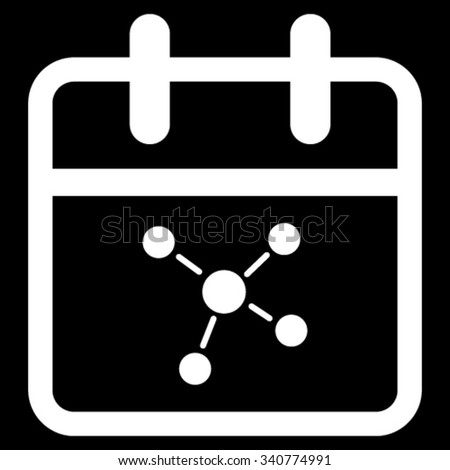 Scheme Date vector icon. Style is flat symbol, white color, rounded angles, black background. - stock vector