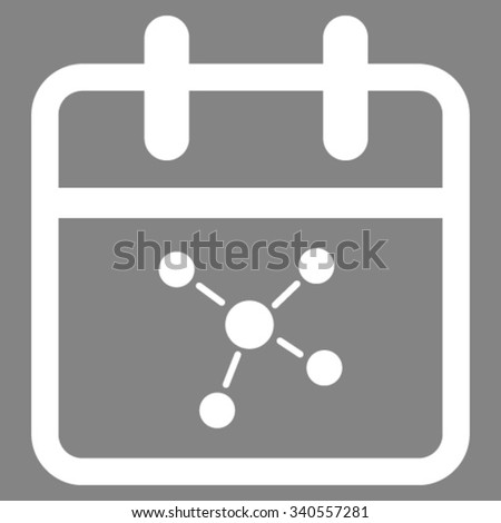Scheme Date vector icon. Style is flat symbol, white color, rounded angles, gray background. - stock vector