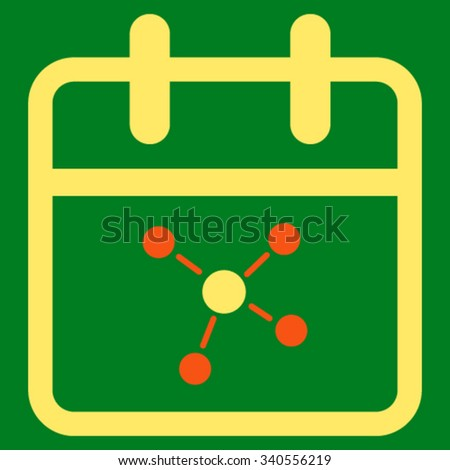 Scheme Day vector icon. Style is bicolor flat symbol, orange and yellow colors, rounded angles, green background. - stock vector