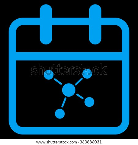 Scheme Day vector icon. Style is flat symbol, blue color, rounded angles, black background. - stock vector
