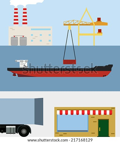 Scheme of delivery from the factory to the store - stock vector