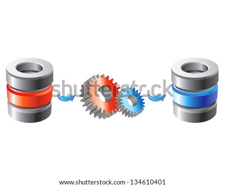 Scheme of the database migration - stock vector