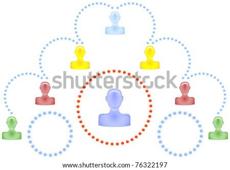 Scheme with symbolic human figures interconnected curved dotted lines - stock vector