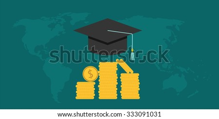 scholarship college with cap and money coin - stock vector