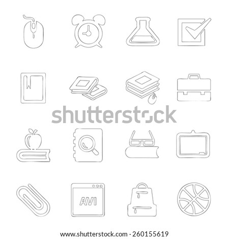 Scholastics icon line hand drawn Set 2 - stock vector