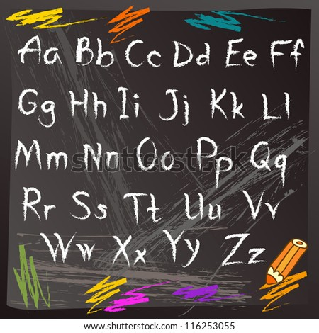 School alphabet on classroom blackboard - stock vector