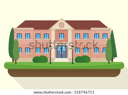 School and education. Buildings for city construction. Set of elements to create urban background, village and town landscape.  Flat style vector illustration. - stock vector