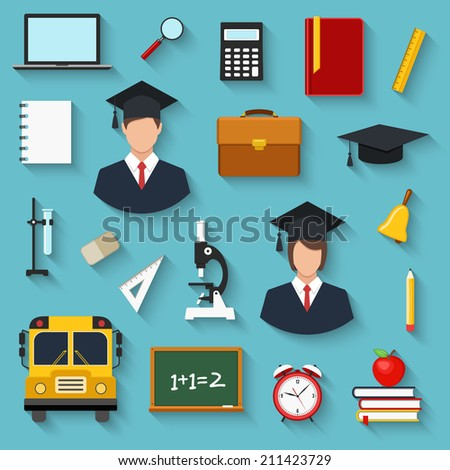school and education colorful flat style icons set. template elements for web and mobile applications - stock vector