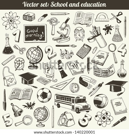 School And Education Doodles Collection Vector - stock vector