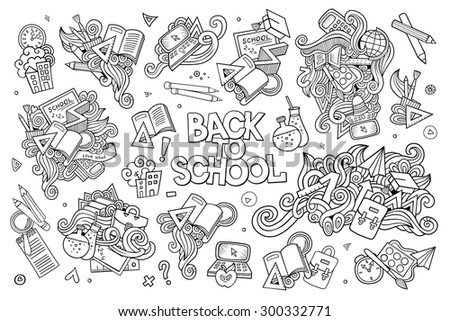 School and education doodles hand drawn sketchy vector symbols and objects - stock vector