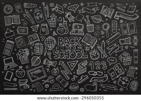 School and education doodles hand drawn vector chalkboard symbols and objects - stock vector