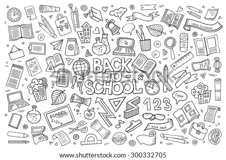 School and education doodles hand drawn vector sketch symbols and objects - stock vector