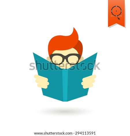 School and Education Icon - Boy Reading a Book. Vector. Flat design style - stock vector