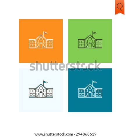 School and Education Icon - School Building. Vector Illustration. Flat design style