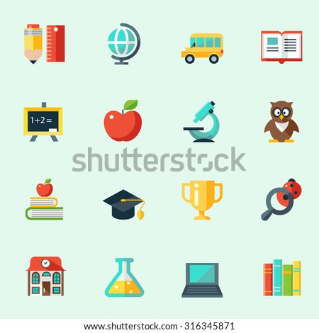 School and education icons in flat design - stock vector