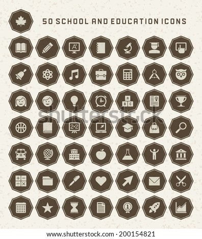 School and Education Icons set. Back to school design elements vector collection. - stock vector