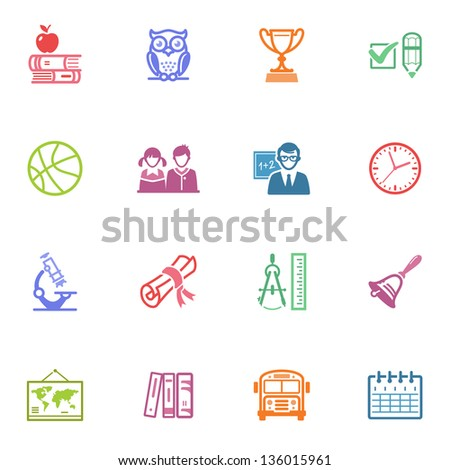 School and Education Icons Set 3 - Colored Series - stock vector