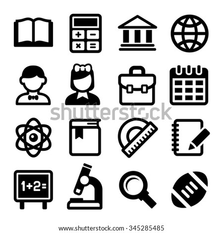 School and Education Icons Set. Vector - stock vector