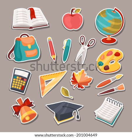 School and education icons, symbols, objects set. - stock vector