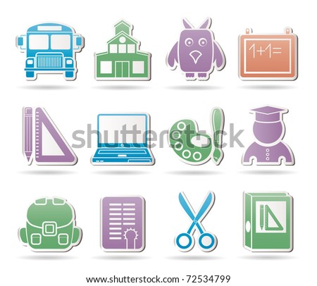School and education objects - vector illustration - stock vector