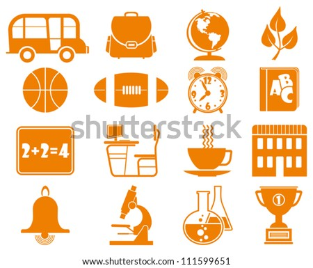 School and Education vector Icon Set. - stock vector