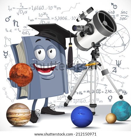 School astronomy textbook with telescope hold Mars on formula background - stock vector