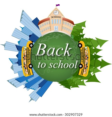 School. back to school on the map . vector illustration. - stock vector