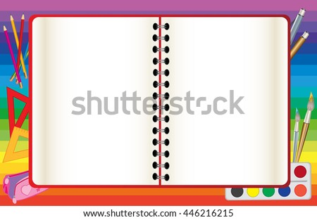 School background with an open notebook - stock vector