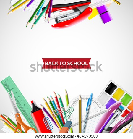 School background with chalkboard and supplies. Stationery equipment. Vector realistic illustration