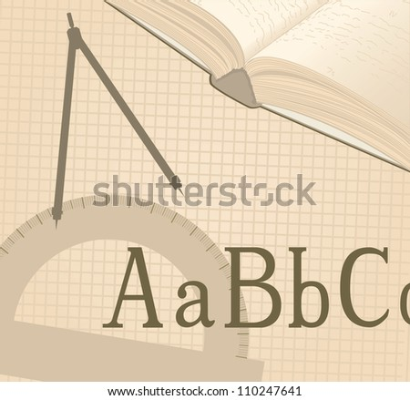 school background with letters, open book and school tools - stock vector
