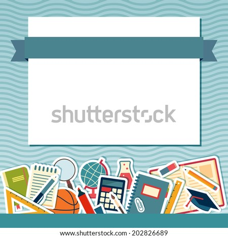 School background with place for text. Education banner - stock vector