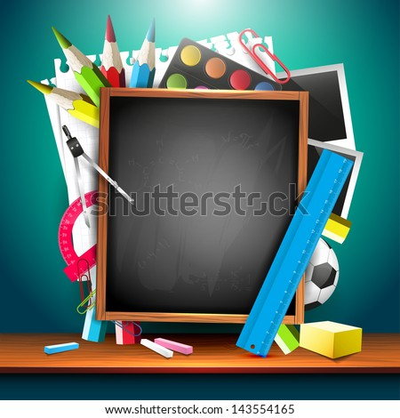 School background with school supplies and copyspace  - stock vector